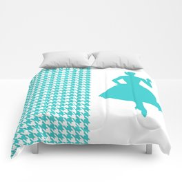 Turquoise Modern Houndstooth w/ Fashion Silhouette Comforters