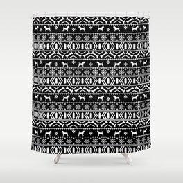Chihuahua fair isle christmas sweater black and white minimal chihuahuas dog breed Shower Curtain