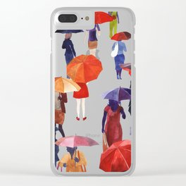People with umbrellas Clear iPhone Case