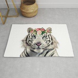 Tiger flower crown portrait Rug