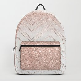 Modern faux rose gold glitter ombre modern chevron stitches pattern Backpack