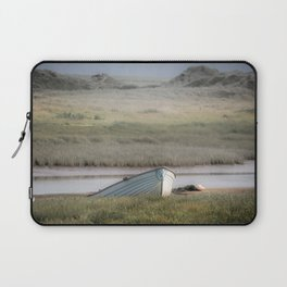 Old wood boat parked alone on the sand Laptop Sleeve