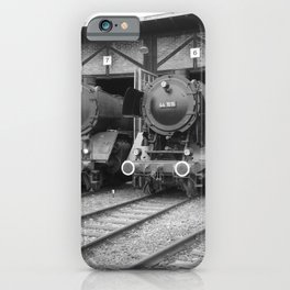 Old steam locomotive in the depot ZUG013CBx Le France black and white fine art photography by Ksavera iPhone Case
