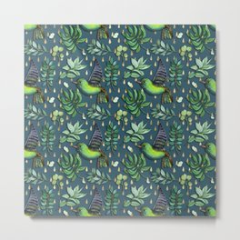 Exotic birds on delicate gold raindrop pattern Metal Print