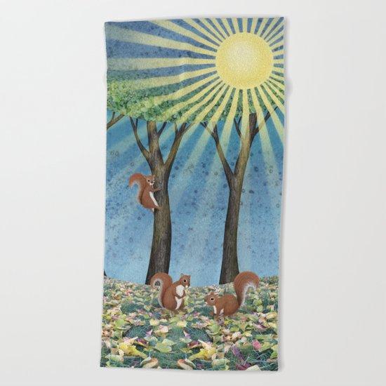 sunshine squirrels Beach Towel