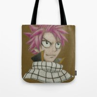 fairy tail Tote Bags featuring Natsu - Fairy Tail by Kelly Katastrophe