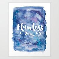 Flawless Typography Blue Purple Watercolor Art Print