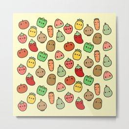 Cute fruit and veg Metal Print