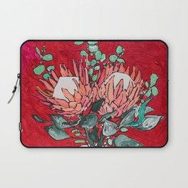 Delft Bird Vase of Proteas on Red Laptop Sleeve