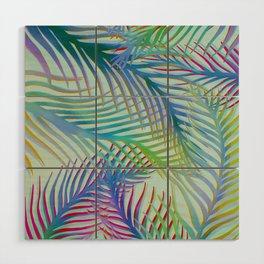 Palm Leaves Pattern - Blue, Purple, Green Wood Wall Art