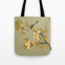 Bird in Ginkgo Tree Tote Bag