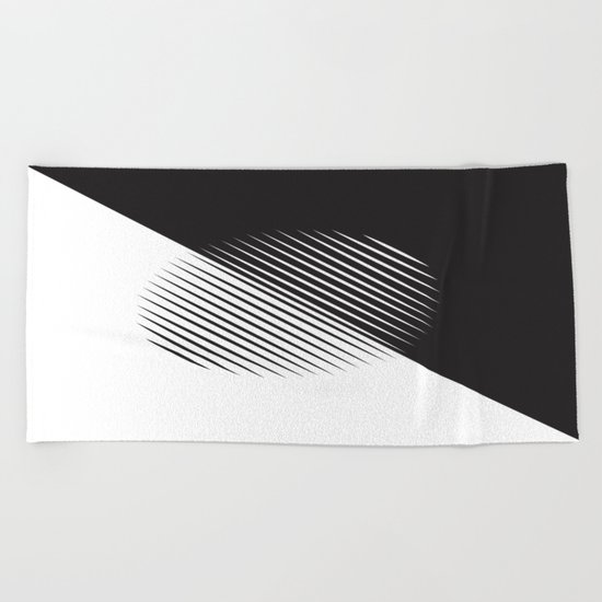 Black And White Ball Of Stripes Beach Towel