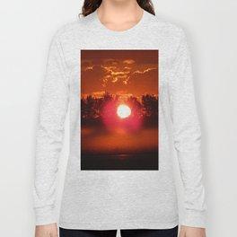 Red Foggy Sunrise Long Sleeve T-shirt