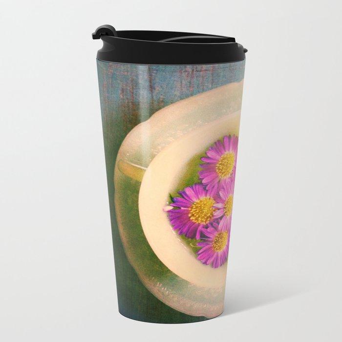 Spring Flowers on Vintage Table Metal Travel Mug