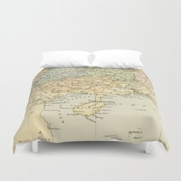 Vintage Map of The South Of China Duvet Cover