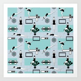 Art Deco Swimmers Art Print