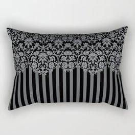 Black and Gray Floral Damask Pattern Rectangular Pillow