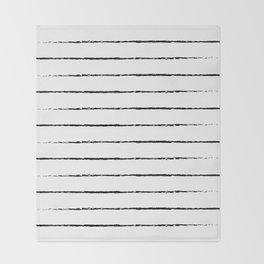 Minimal Simple White Background Black Lines Stripes Throw Blanket