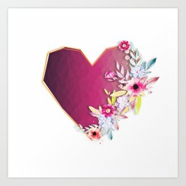 Crystalized heart bloomed with love Art Print