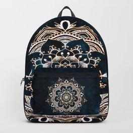 Glowing Spirit Mandala Blue White Bohemian Hippie Zen Indian Yoga Mantra Meditation Backpack