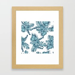 Tropical Palm Leaves Hibiscus Flowers Blue Framed Art Print