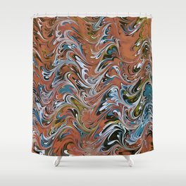 Marble Abstract In Red Shower Curtain