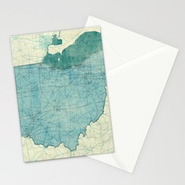 Ohio State Map Blue Vintage Stationery Cards