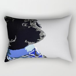 Black Standard Poodle in Blue Rectangular Pillow