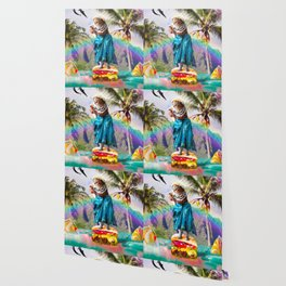 Cute Aloha Cat Surfing Cheeseburger Burger Wallpaper