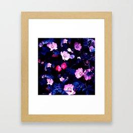 Bold Blue And Pastel Pink Blush Floral Framed Art Print