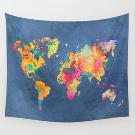 world map blue 2061 #map #worldmap Wall Tapestry
