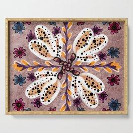 Dusky Rose 'Nu-Folk' Tile Design Serving Tray