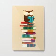 Owl Reading Rainbow Metal Print