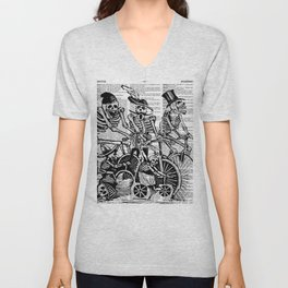 Calavera Cyclists | Skeletons on Bikes | Day of the Dead | Dia de los Muertos | Black and White | Unisex V-Neck