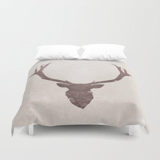 Deer stag silhouette grunge design Duvet Cover