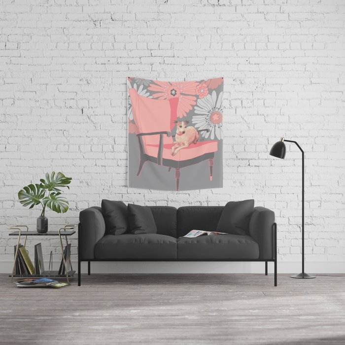 Dog in a chair #3 Italian Greyhound Wall Tapestry