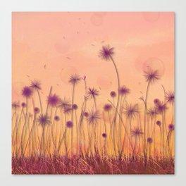Dreamy Violet Dandelion Flower Garden Canvas Print
