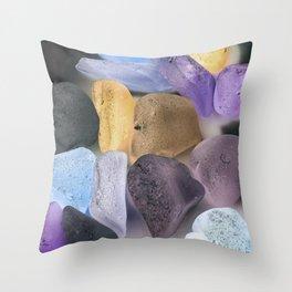 New England beach glass ultraviolet Throw Pillow