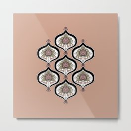 ethnic tropical pineapple and leaf pattern Metal Print