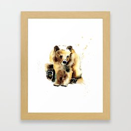 Baby Brown Bear Watercolor Painting by Lisa Whitehouse Framed Art Print