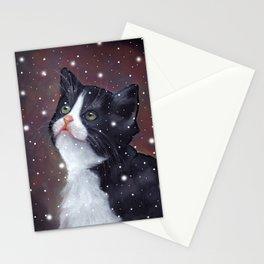 Tuxedo Cat Looking Up at Snowflakes Stationery Cards