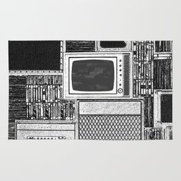 Vhs Tapes and Vinyl Collection with TV Glitch Rug