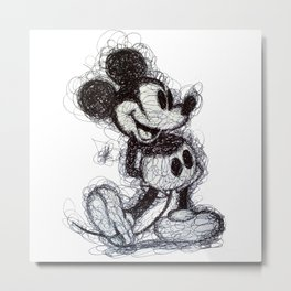 Mickey Mouse scribble Metal Print