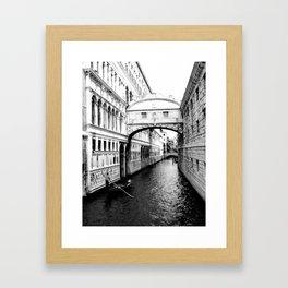 Bridge of sighs and gondola, Venice Framed Art Print