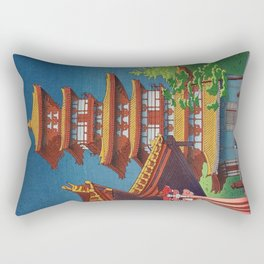 Japanese Woodblock Print Vintage Asian Art Colorful woodblock prints Pagoda Shinto Shrine Rectangular Pillow