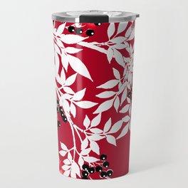 TREE BRACHES RED AND WHITE WITH BLACK BERRIES Travel Mug