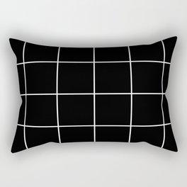 white grid on black background - Rectangular Pillow