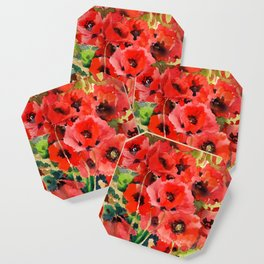 Red Poppies red floral pattersn texture poppy flower design Coaster