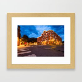 Durango Colorado Skyline - Strater Hotel at Dawn Framed Art Print