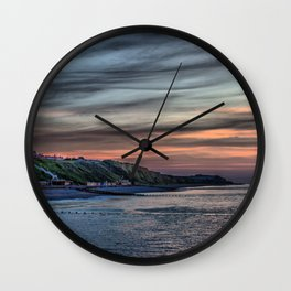 Sunset on Cromer Cliffs Wall Clock